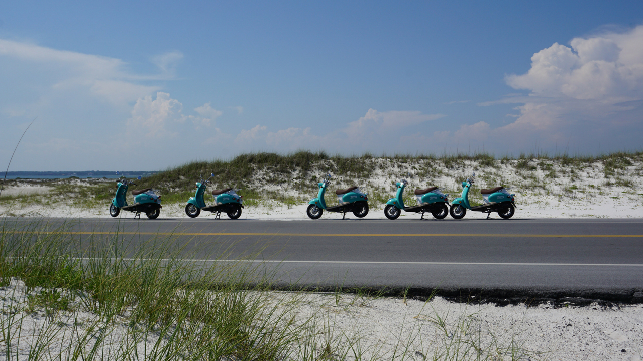 Some of Sage Paddle Company's New Scooter Fleet, Navarre Beach, Fla., May 19, 2018