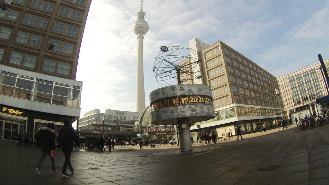 World Clock at Alexanderplatz in Berlin, March 2018