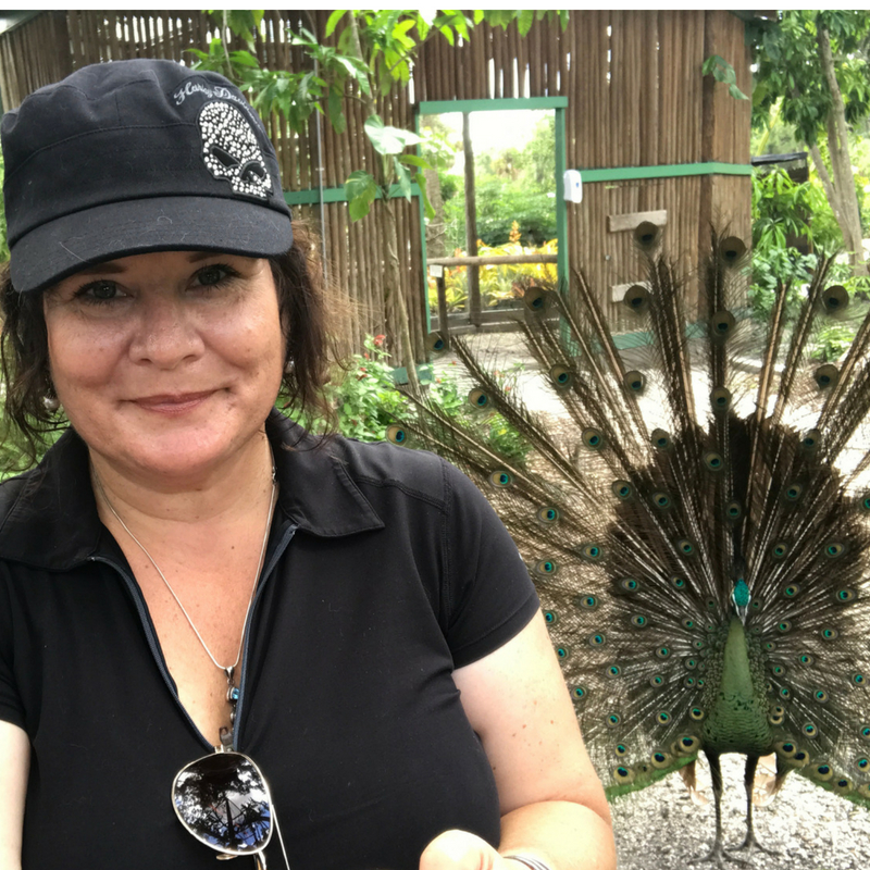 Selfie with a Peacock, Everglades Wonder Gardens, Bonita Springs, Fla.