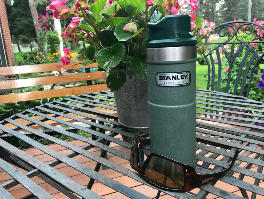 Stanley Classic One Hand Vacuum Mug and Wiley X Sunglasses.