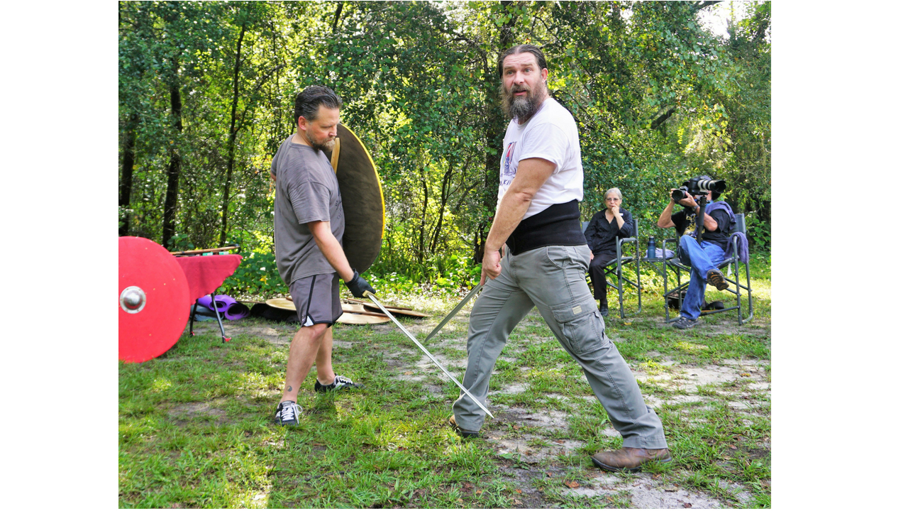 Brent Feagans of Wyrd Brothers Productions Demonstrates One of the Proper Ways to Safely to Stab Someone During Viking Fitness Training. (Don't Worry, No One Was Injured!)