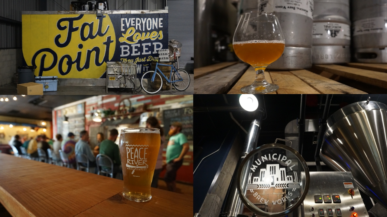 Cheers! On the Left, Images Represent Fat Point Brewing and Peace River Beer Company in Punta Gorda and Muncipal Beer Works in Hamilton, Ohio. August 2018