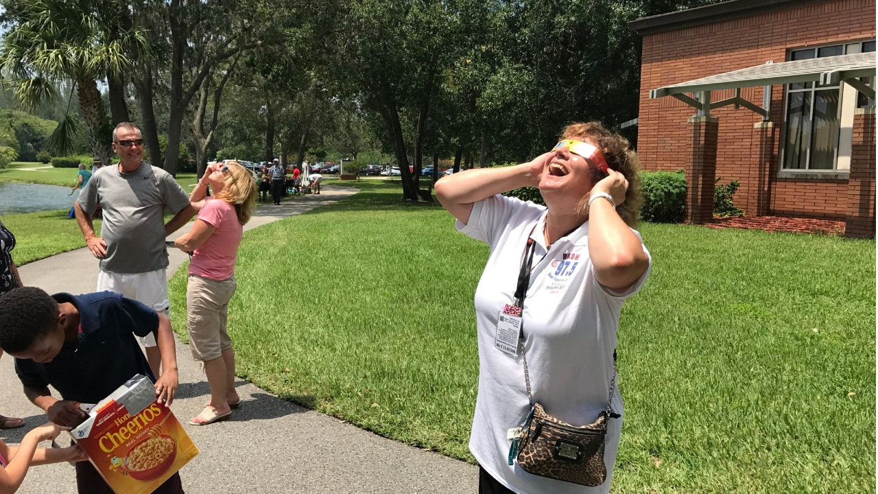 Me Viewing the Solar Eclipse on Aug. 21, 2018, and Did Live Reporting for WKDW 97.5 FM, North Port. This Was at the James & Barbara Moore Observatory at Florida South Western State College.