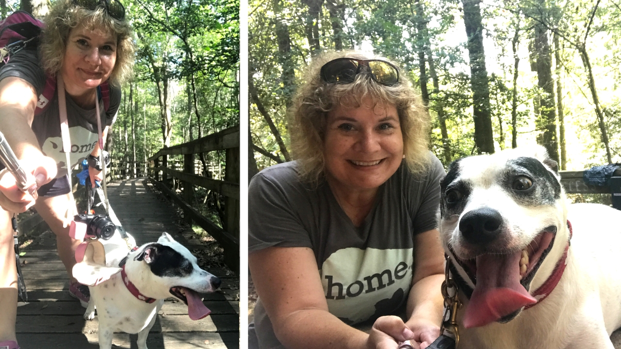 Radcliff and I During and After Our Walk on the Boardwalk Trail at Congaree National Park in South Carolina, Oct. 2018
