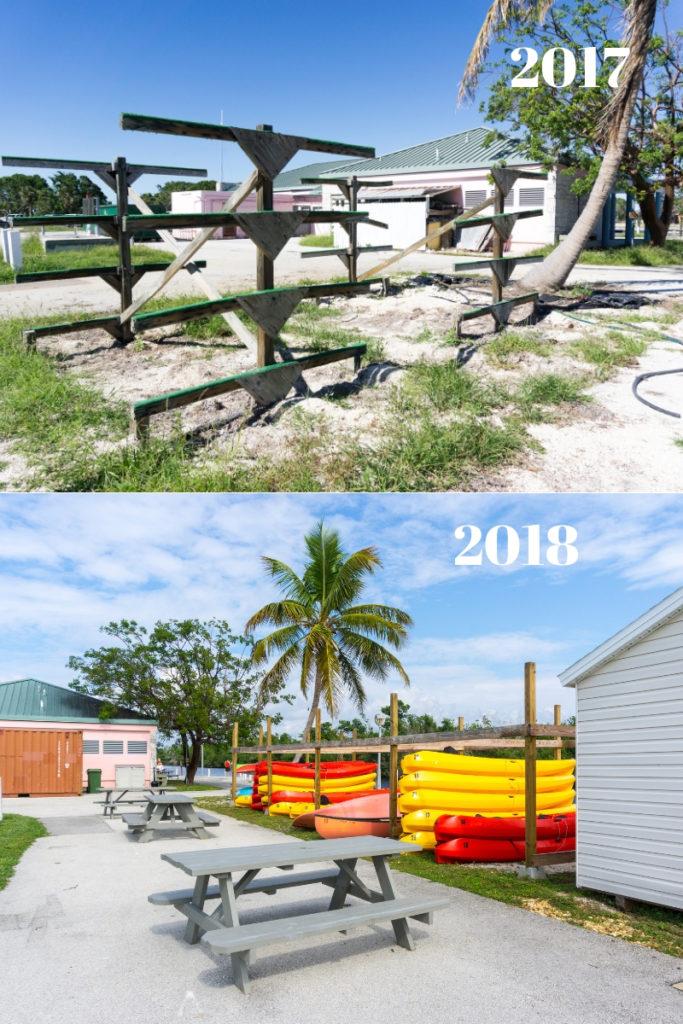 Top: Empty Canoe and Kayak Racks at the Flamingo Marina, Nov. 2017.  Bottom: Racks are Full of Canoes and Kayaks to Rent at Flamingo Marina, Nov. 2018.