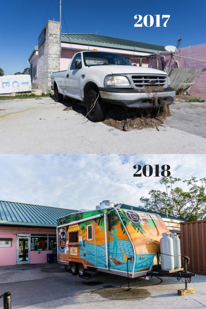 Top: A Truck has Sea Grass Caused to a Storm Surge During Sept. 2017's Hurricane Irma at Flamingo Marina Store. Nov. 2017.  Bottom: A Food Truck at the Flamingo Marina Store Serves Hot and Fresh Meals. Nov. 2018