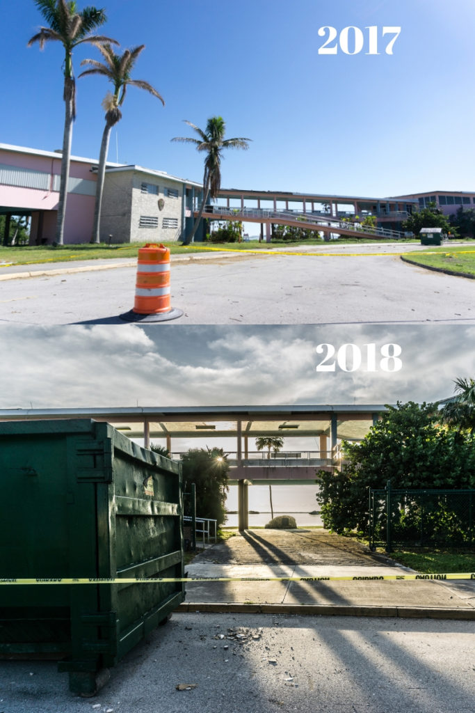 Top: National Park Service Flamingo Visitor Center as it Looked in Nov. 2017.  Bottom: Renovations in Progress at the National Park Service Flamingo Visitor Center in Nov. 2018.