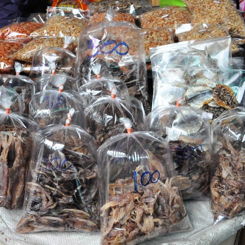 Dried Fish and Seafood at the Chatuchak Market in Bangkok, Thailand. A Must-Visit on Any Bangkok Food Tour.