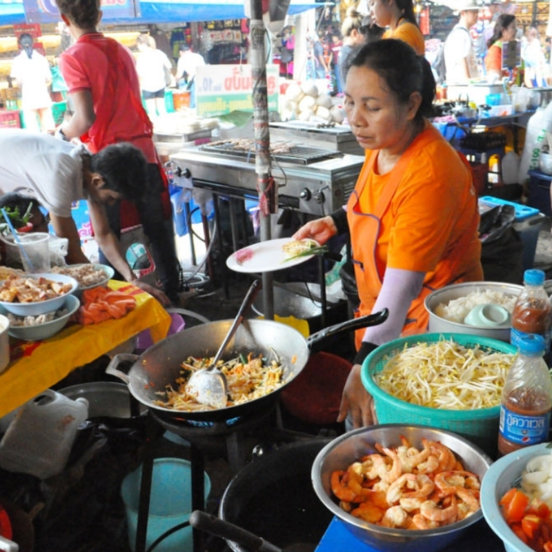 Pad Thai Made to Order at Chatuchak Weekend Market in Bangkok, Thailand.