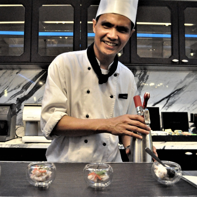 A Young Chef at the Hotel Plaza Athenee Bangkok Whipped Up Delicious Cuisine.