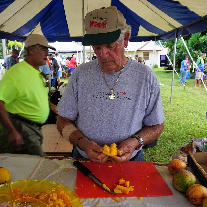Learn How to Efficiently Cut a Mango During MangoMania in Cape Coral.