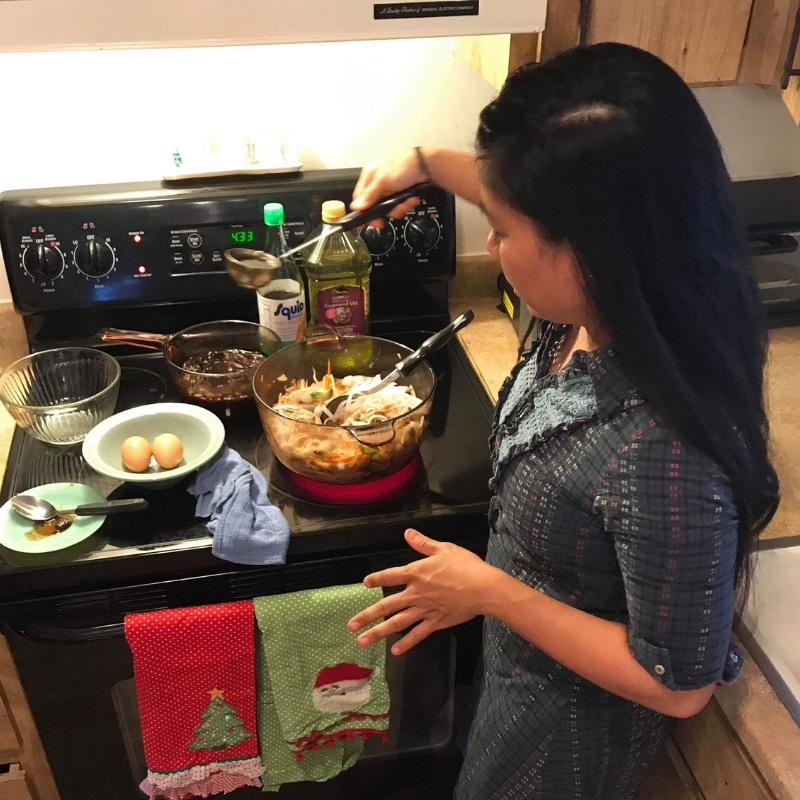 My Friend Pam Giving an In-Home Cooking Lesson on How to Cook Pad Thai.