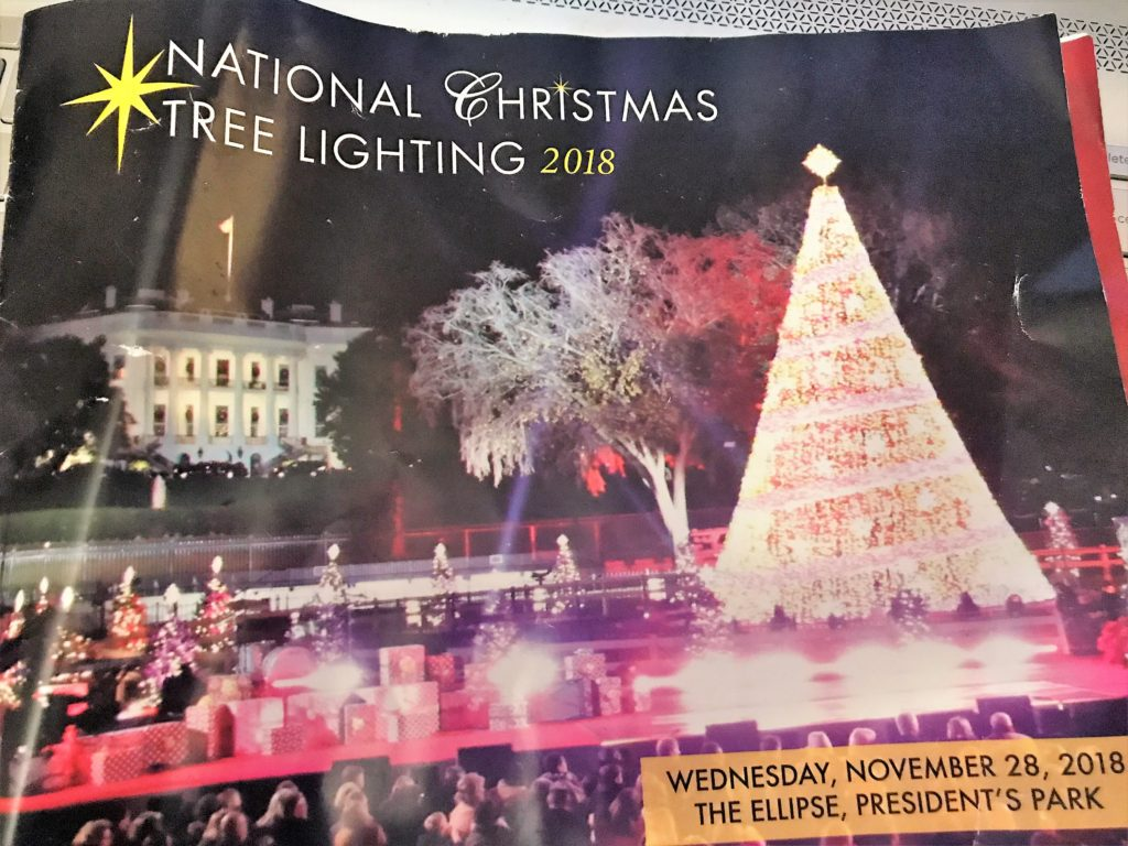 Program from the 2018 Christmas Tree Lighting.