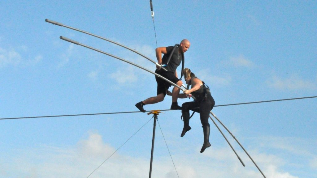 Nik Wallenda and Lijana Wallenda Practiced at Nathan Benderson Park, Sarasota, Fla., June 8, 2019, for Their NYC Times Square High Wire Walk.