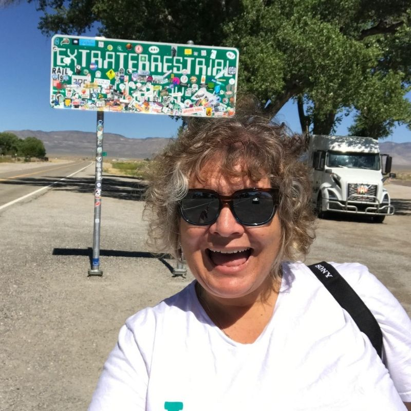 Hey! The Extraterrestrial Highway Sign is the Perfect Selfie Backdrop! July 2019.