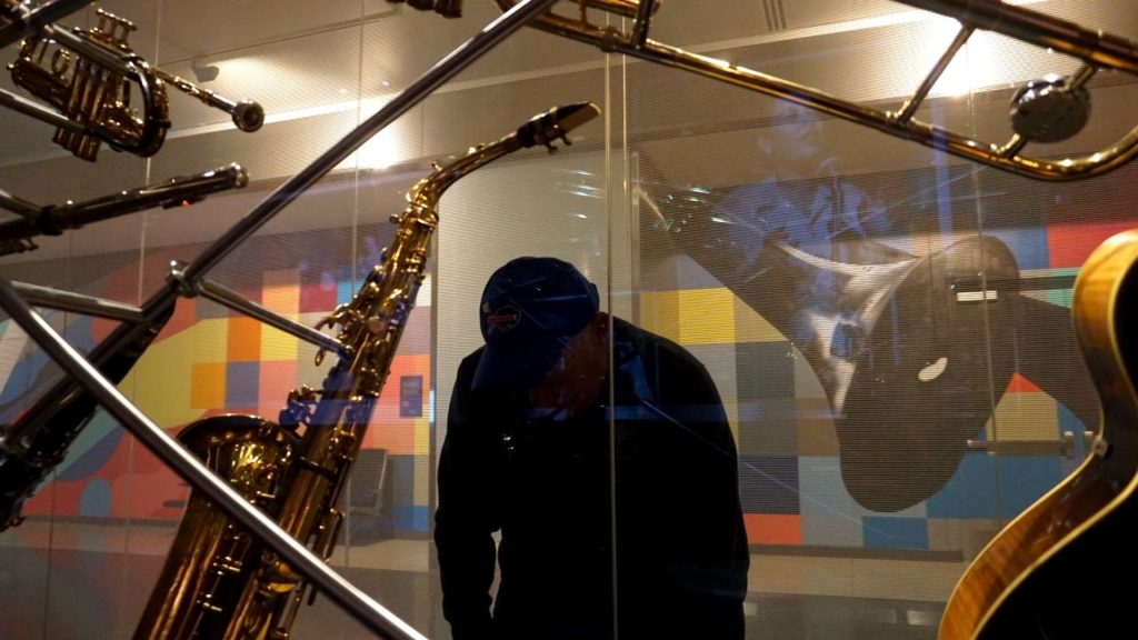 My Dad Checking Out Instruments at Smithsonian's National Museum of American History Museum.