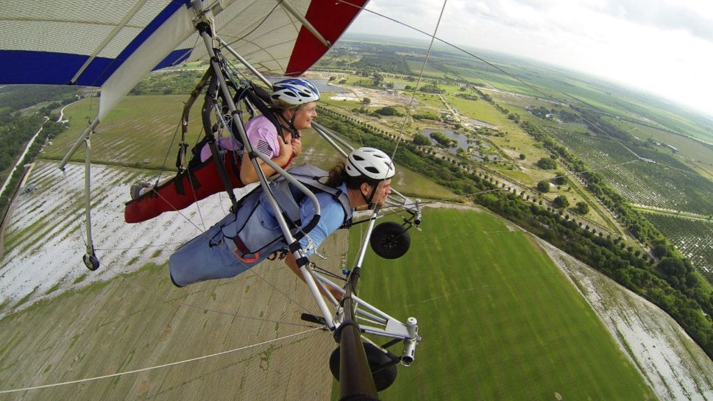 Taking in the View During a Tandem Hang Gliding Experience with Florida Ridge Air Sports Park in Clewiston, Fla.