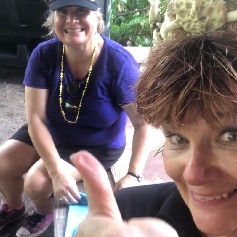 Taking a Selfie Break from Rolling Towels with Patty Register of Gatorama in Palmdale, Fla., Aug. 10, 2019.