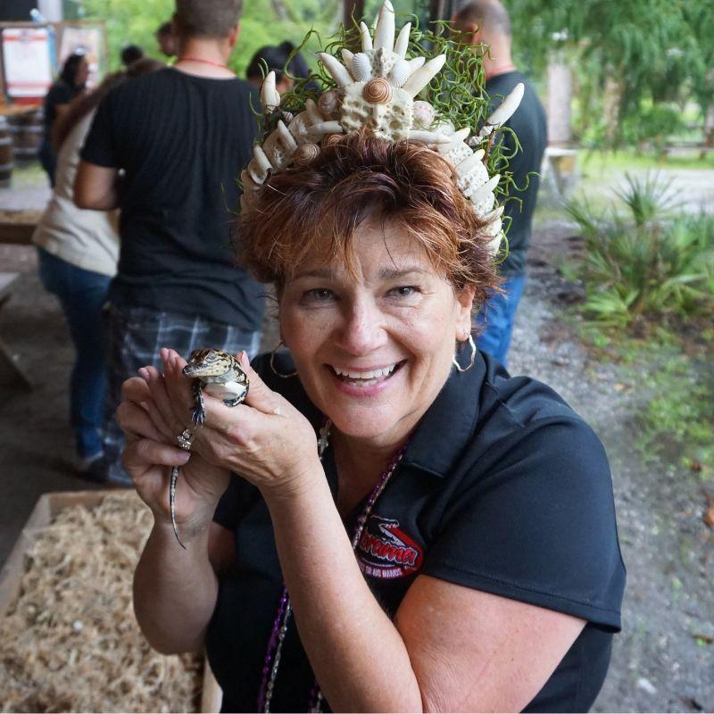 Patty Register of Gatorama Prepares for the Annual Hatching Festival in Palmdale, Fla., Aug. 2019.