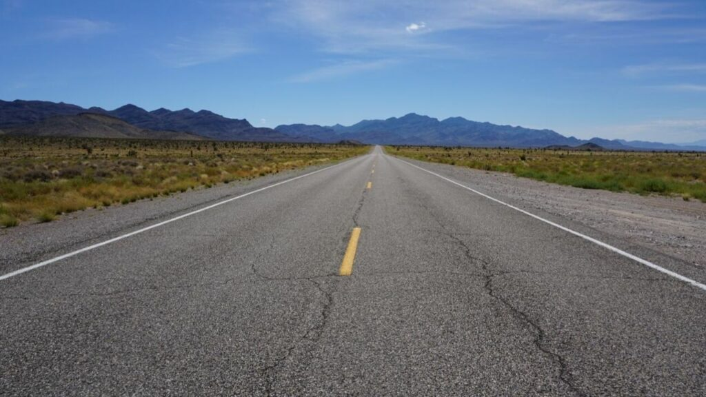 A Road in the Nevada Desert.