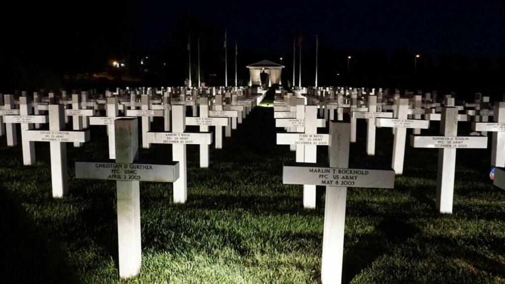 Ohio Fallen Heroes Memorial in Sunbury at Night.