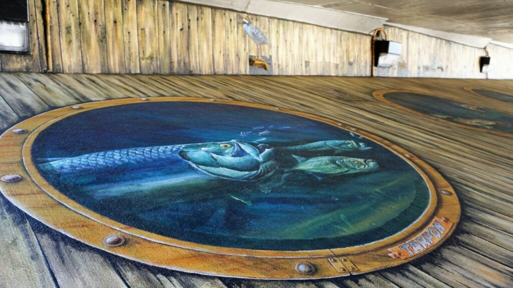 """One Painting in the """"Tails from the Harbor"""" Mural in Punta Gorda, Fla."""