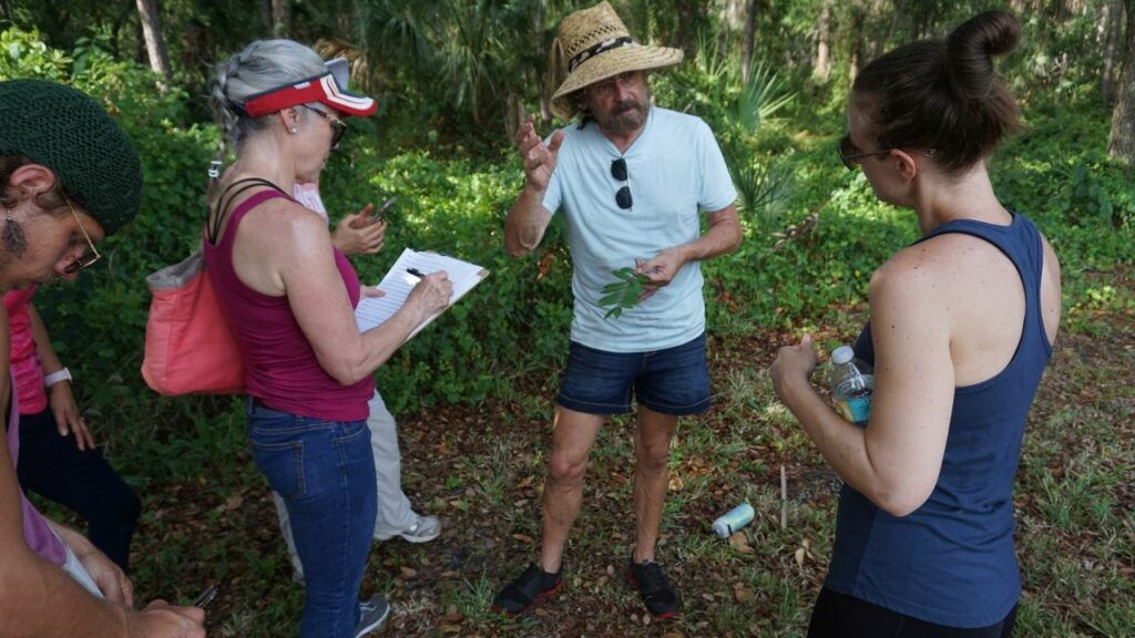 Green Deane Leading an Urban Foraging Class in Sarasota, Fla., in June 2019.