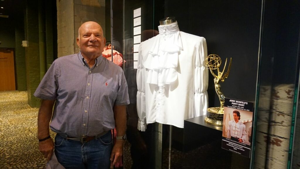 My Dad with Jerry Seinfeld's Puffy Shirt at the National Comedy Center in Jamestown, N.Y.