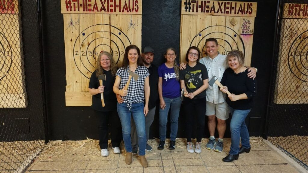 Threw Axes with Fellow Members of the Florida Outdoor Writers Association, The Axe Haus, North Pot, Fla., Jan. 2020.