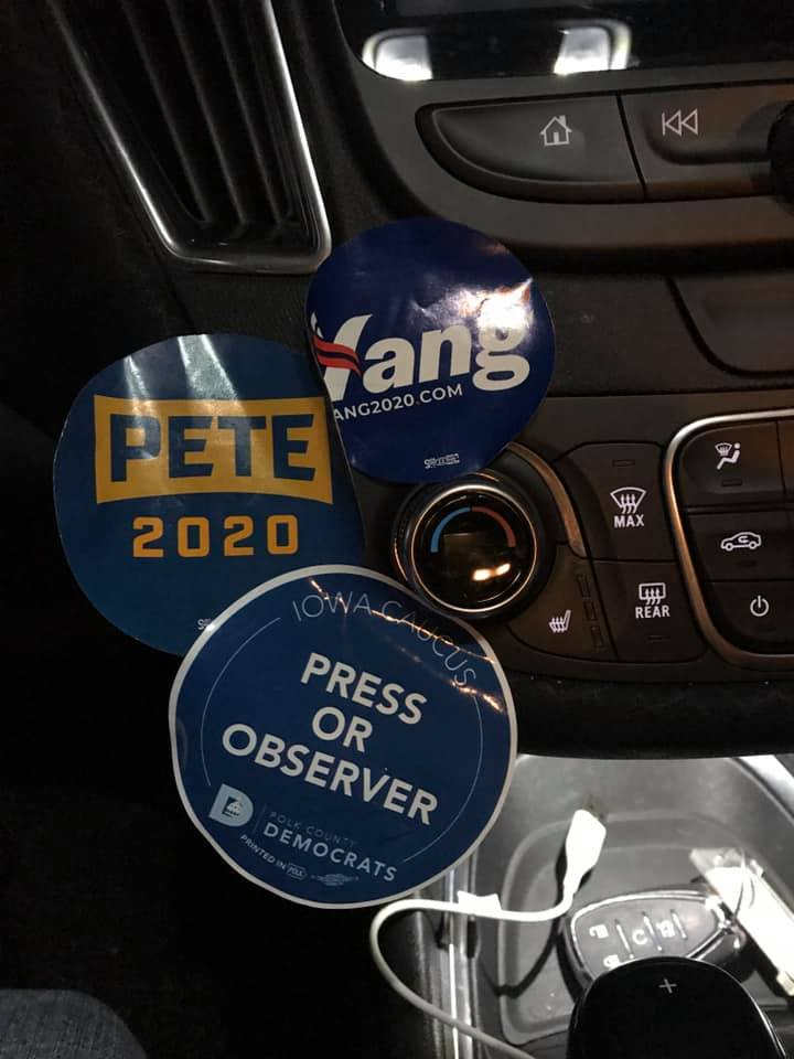 Stickers Collected During My Political Tourism Trip to Des Moines for the Iowa Caucus, Feb. 3, 2020.
