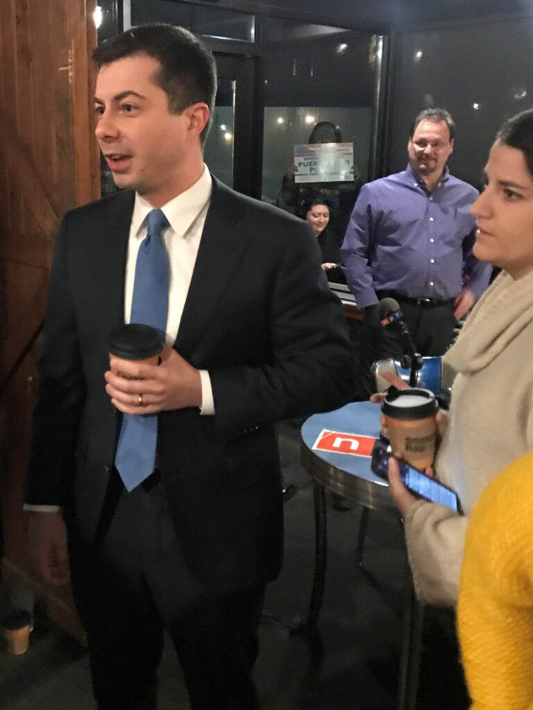 Mayor Pete Buttigieg Answers Questions from Activists in Smoky Row Coffee in Des Moines, Iowa, Feb. 3, 2020.