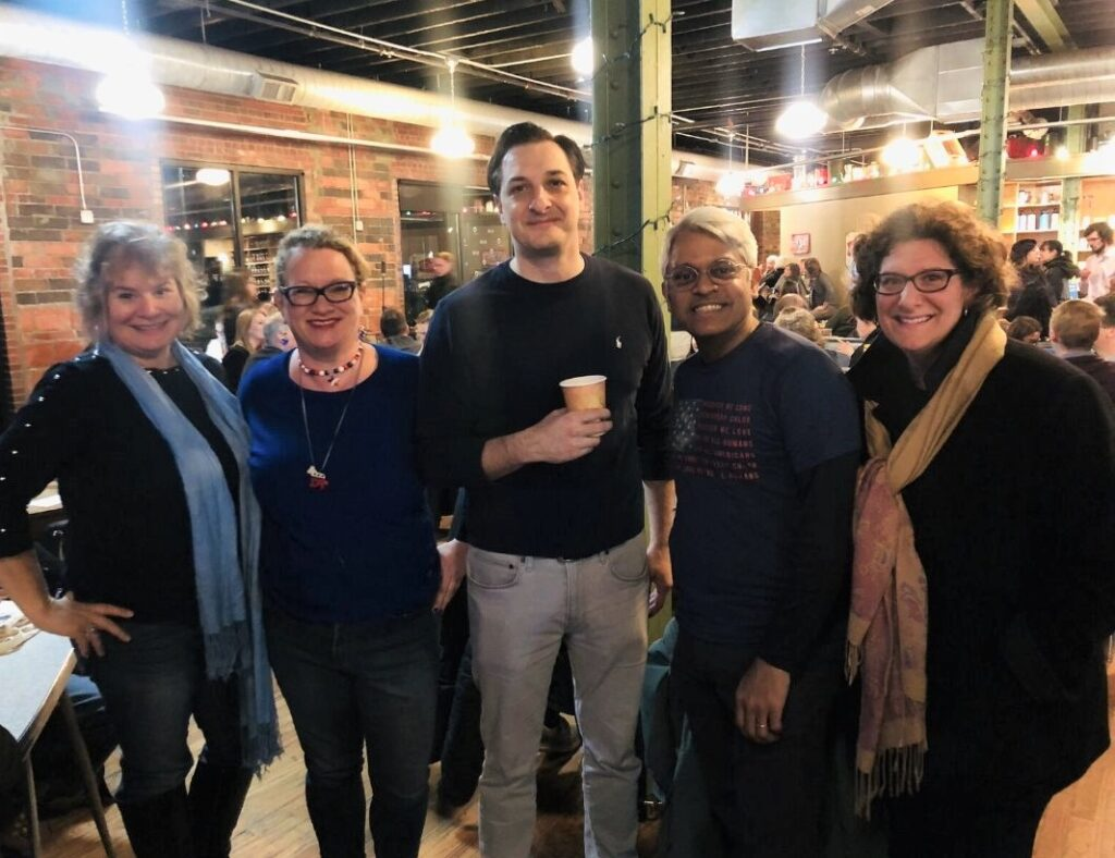 Me, Cordelia, Domenico Montanaro (NPR Senior Political Editor/Correspondent, Washington Desk), and New Political Tourist Friends at Smoky Row Coffee in Des Moines, Iowa, Feb. 3, 2020.