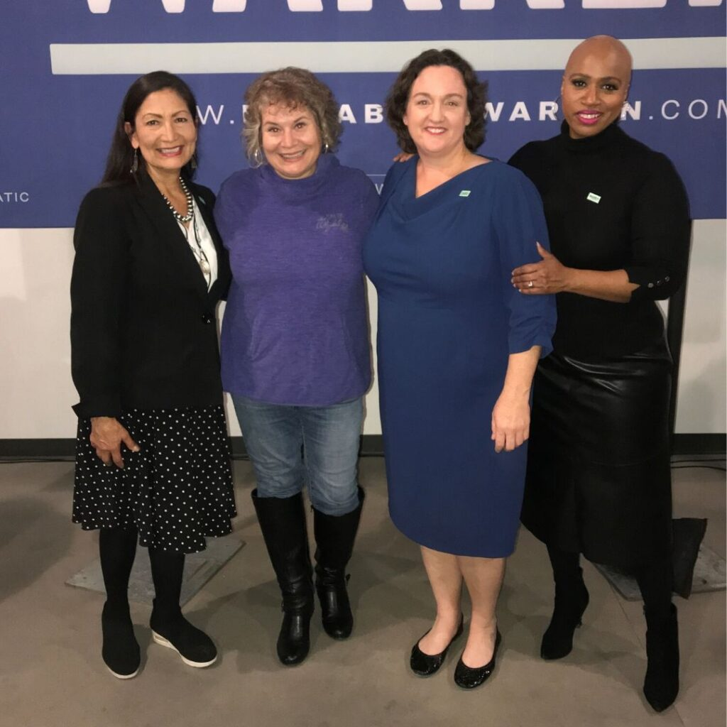 Rep. Deb Haaland, Me, Rep. Katie Porter, and Rep. Ayanna Pressley in Des Moines, Iowa, Jan. 31, 2020.