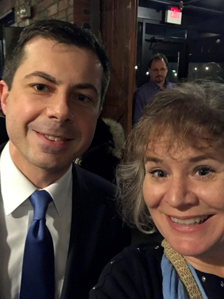 Selfie with Mayor Pete Buttigieg in Des Moines, Iowa, Feb. 3, 2020.