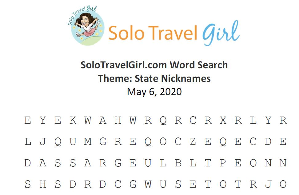 Looking for Things to do Under Quarantine? How About a Word Search? This Week's Theme: State Nicknames in Recognition of National Travel & Tourism Week.