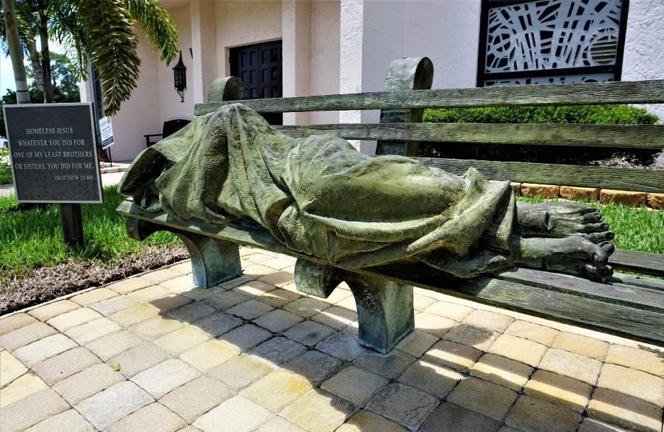 """""""Homeless Jesus"""" by Canadian Sculptor Timothy P. Schmalz is Outside Epiphany Cathedral in Venice."""