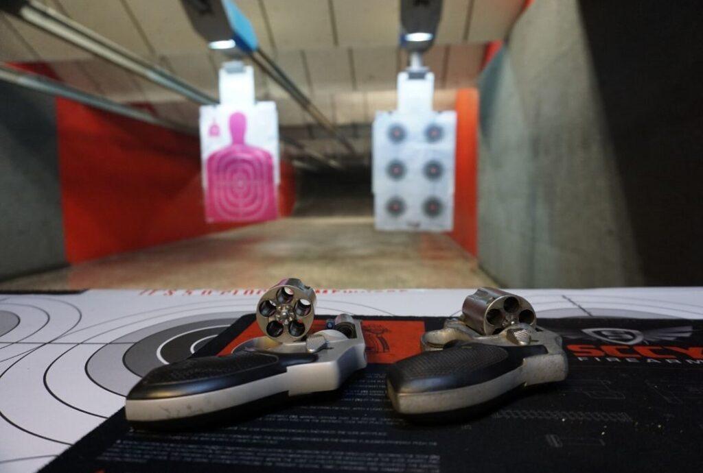 Pistols at the Indoor Gun Range at Volusia Top Gun in Daytona Beach, Fla.