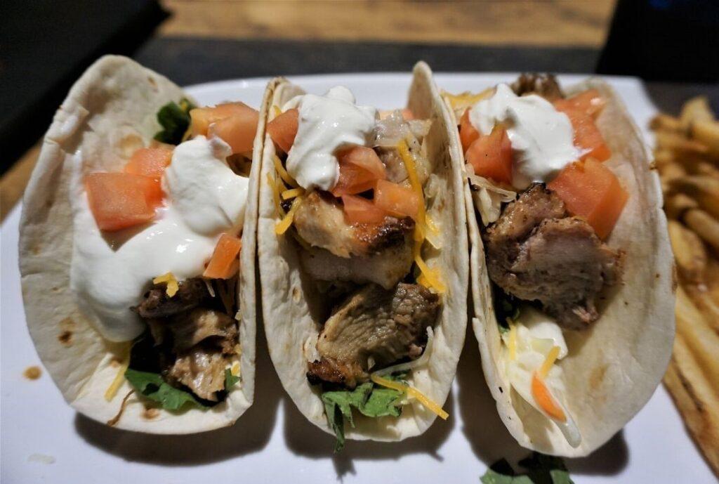 Tacos at Double Barrel Grill at Volusia Top Gun, Daytona Beach, Fla.