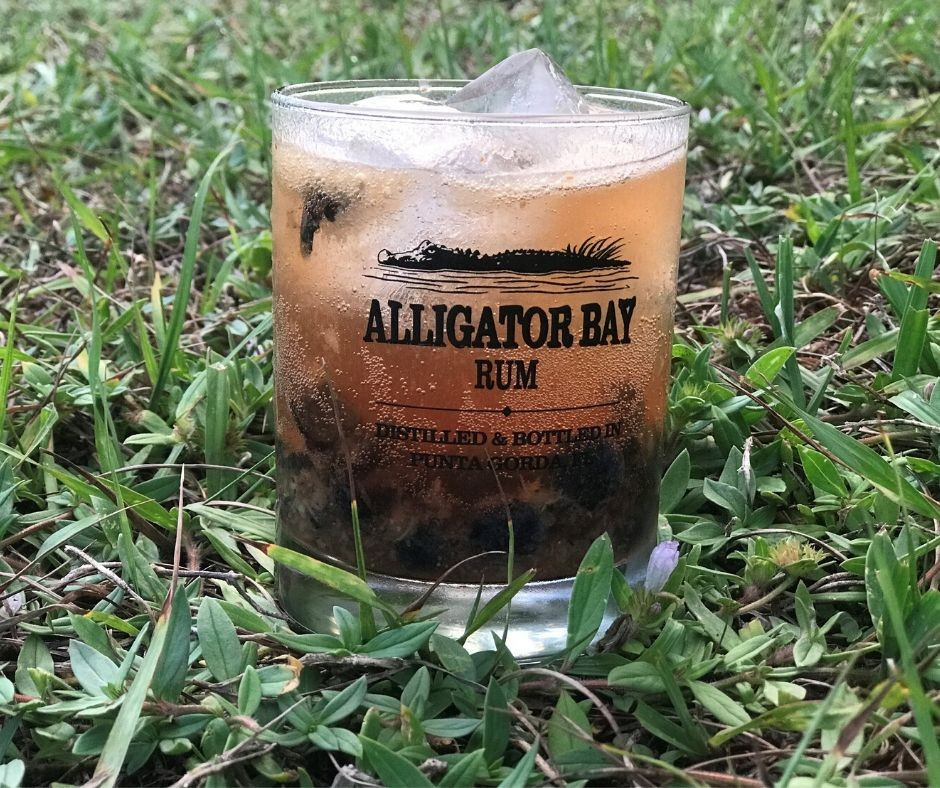 Blueberry Rum Smash Made with Alligator Bay Rum.