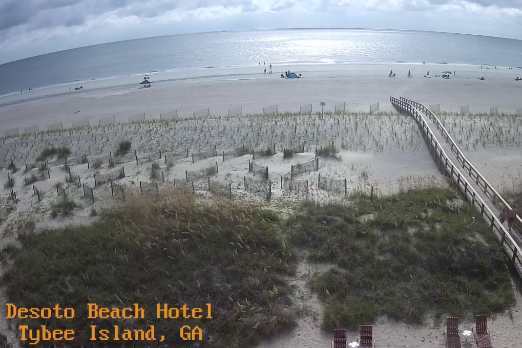 The DeSoto Beach Hotel Webcam Shows a Stunning View of a Beach on Tybee Island.