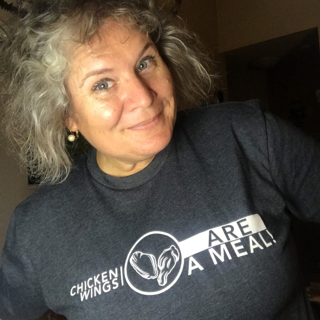 """Selfie with my """"Chicken Wings are a Meal"""" Shirt from Buffalo Thread Wear."""