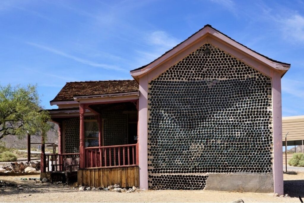 Tom Kelly's Bottle House in Historic Rhyolite, a Nevada Ghost Town, July 2019.