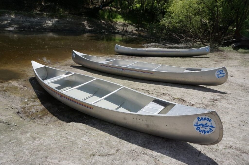 Canoes from Canoe Outpost - Peace River Ready to Launch, March 2021.